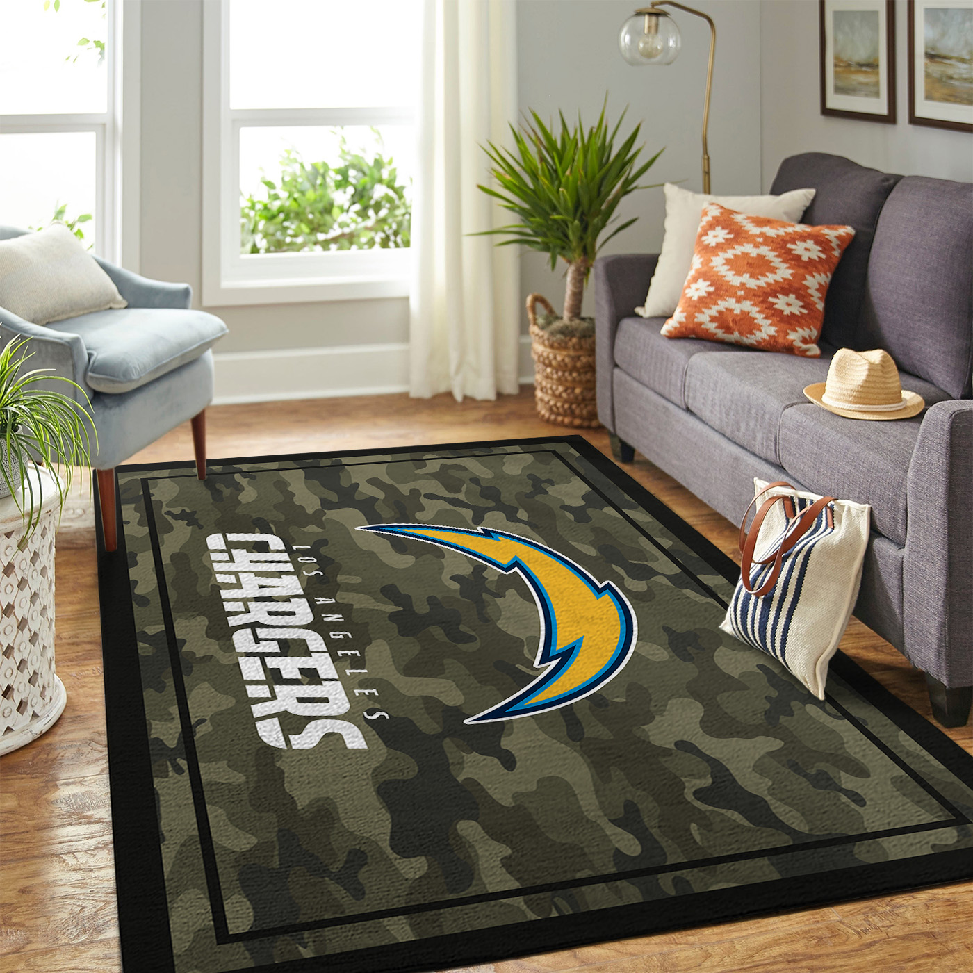Los Angeles Chargers NFL Team Logo Camo Style Nice Gift Home Decor Area Rug  Rugs For Living Room