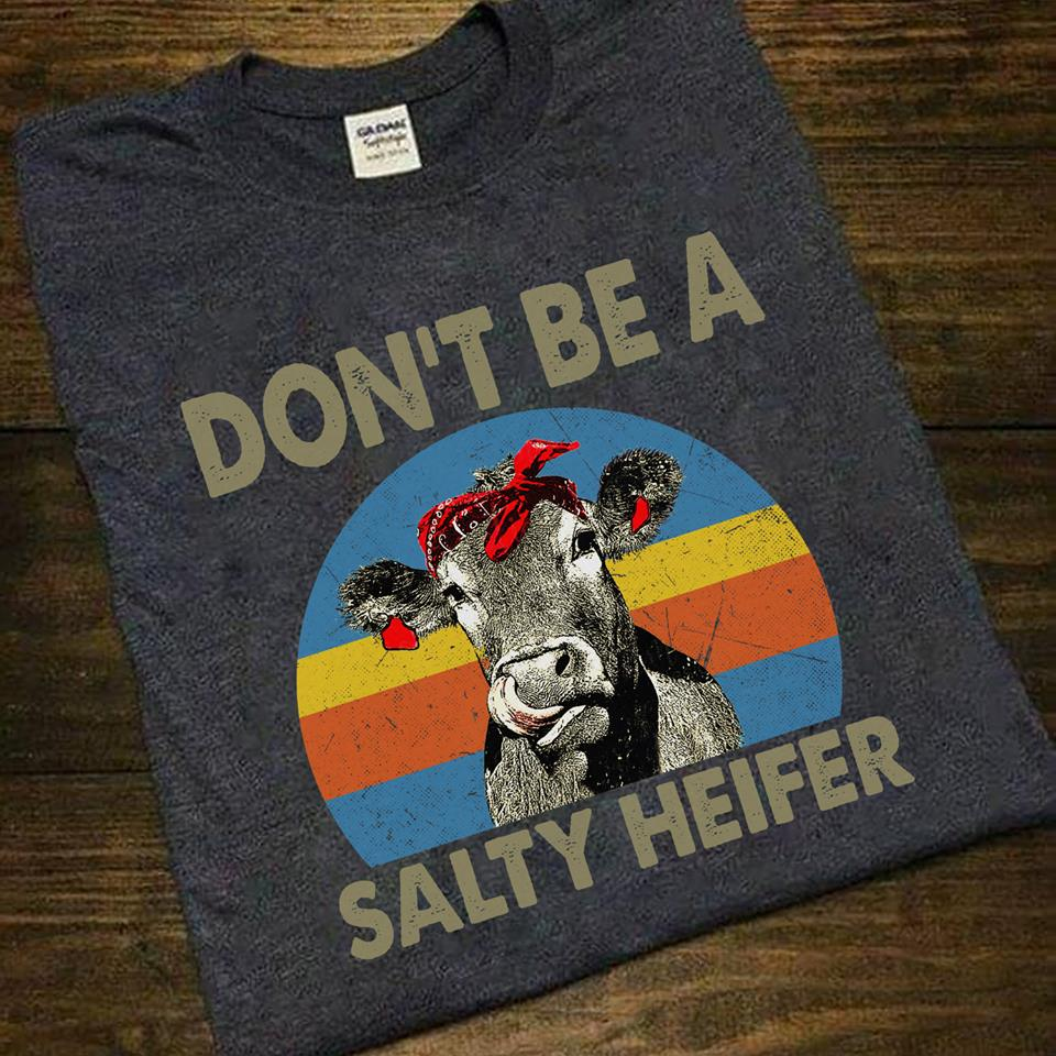 Don't Be A Salty Heifer Retro Vintage Women's T-Shirt Size S-5XL