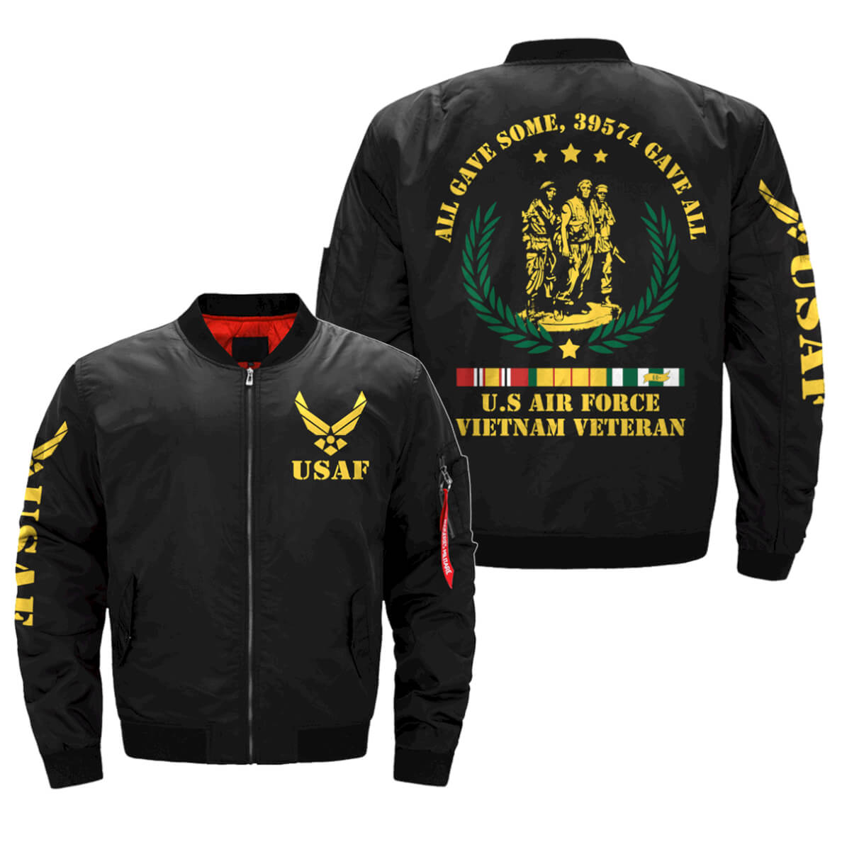 All Gave Some 39574 Gave All VietNam Veteran Printful 3D Bomber Jacket Bomber Jacket Size S-5XL